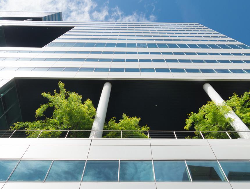 Le photographe Hansenn a pris ce cliché en forte contre plongée. Il montre un immeuble de bureaux écologiques. Des arbres jaillissent des balcons. L'immeuble est moderne dans les lignes et les matériaux et vient tutoyer le ciel. Le logo de Les EnR apparait sur l'image.